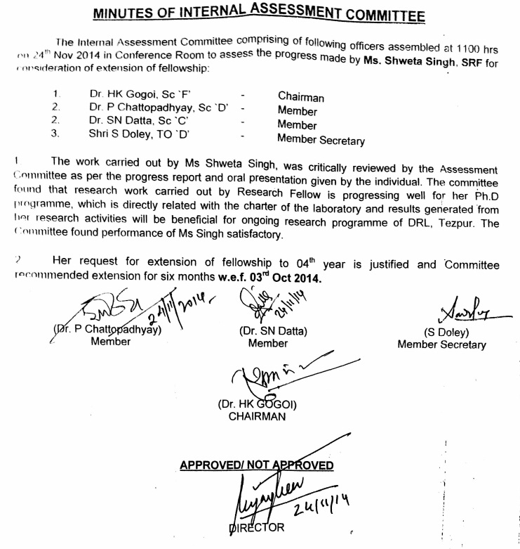 Copy of the Minutes of Assessment Committee held on 24.11.2014.