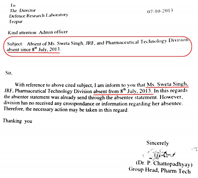 Copy of the letter dated 07.10.2013 from Dr. P Chattopadhyay, Head, Pharmaceutical Technology Division