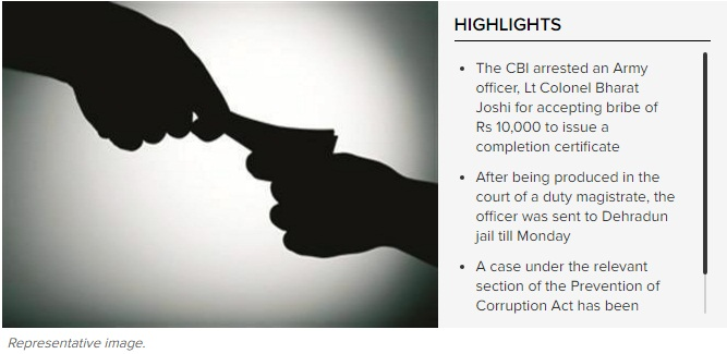 CBI arrests Army officer for accepting bribe - Times of India