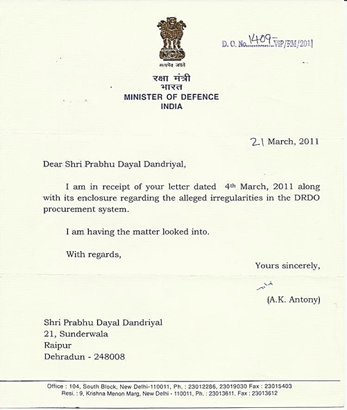Letters from Honorable Defence Minister