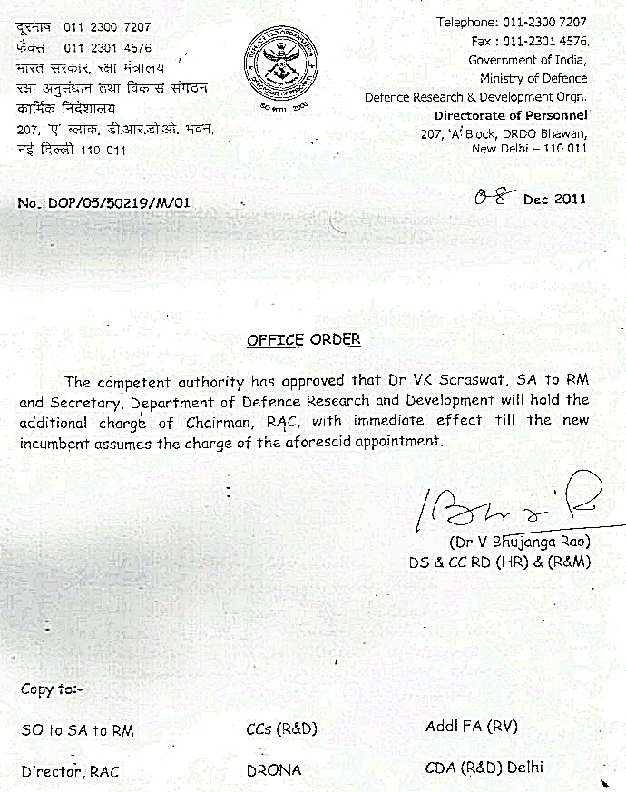 Office order of additional charge given to Dr V K Saraswat  as Chairman, RAC