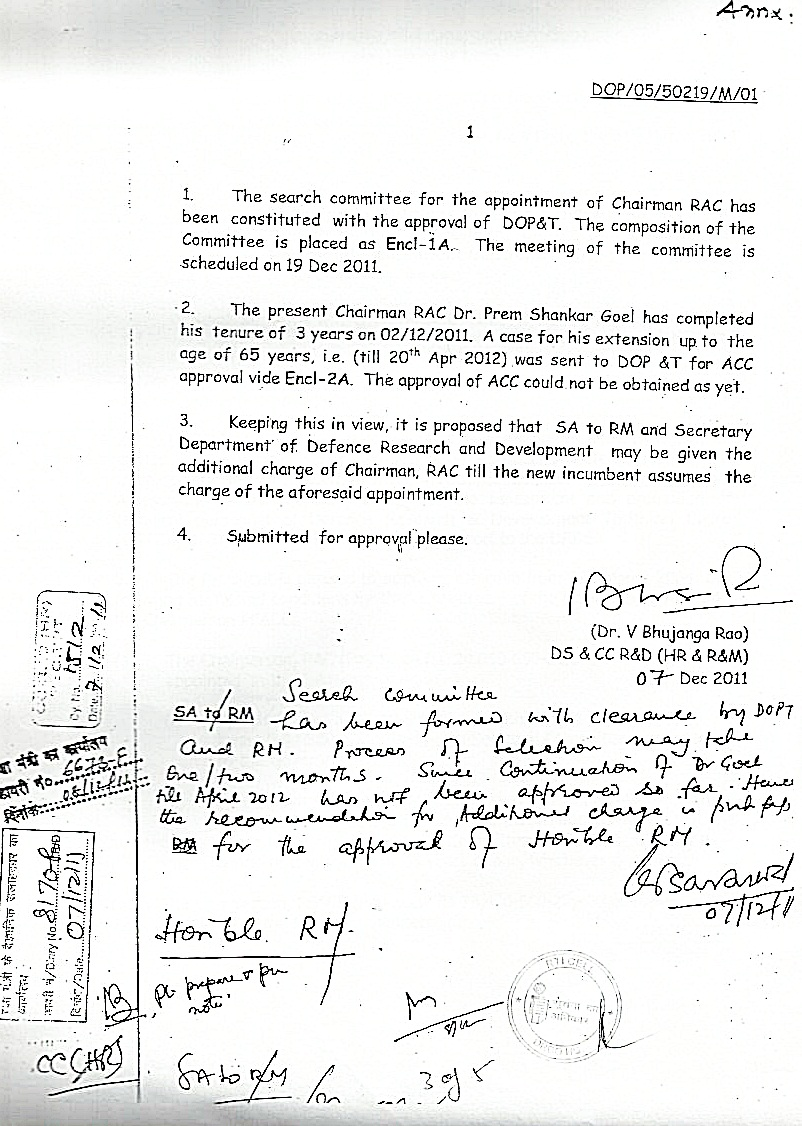 Note sheet of approval of Raksha Mantri for additional charge of Chairman RAC to Dr V K Saraswat