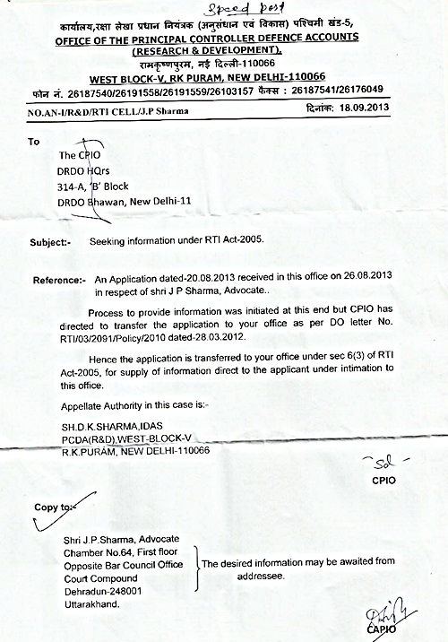 (2)Letter from CAPIO, PCDA(R&D) dated 18.09.2013