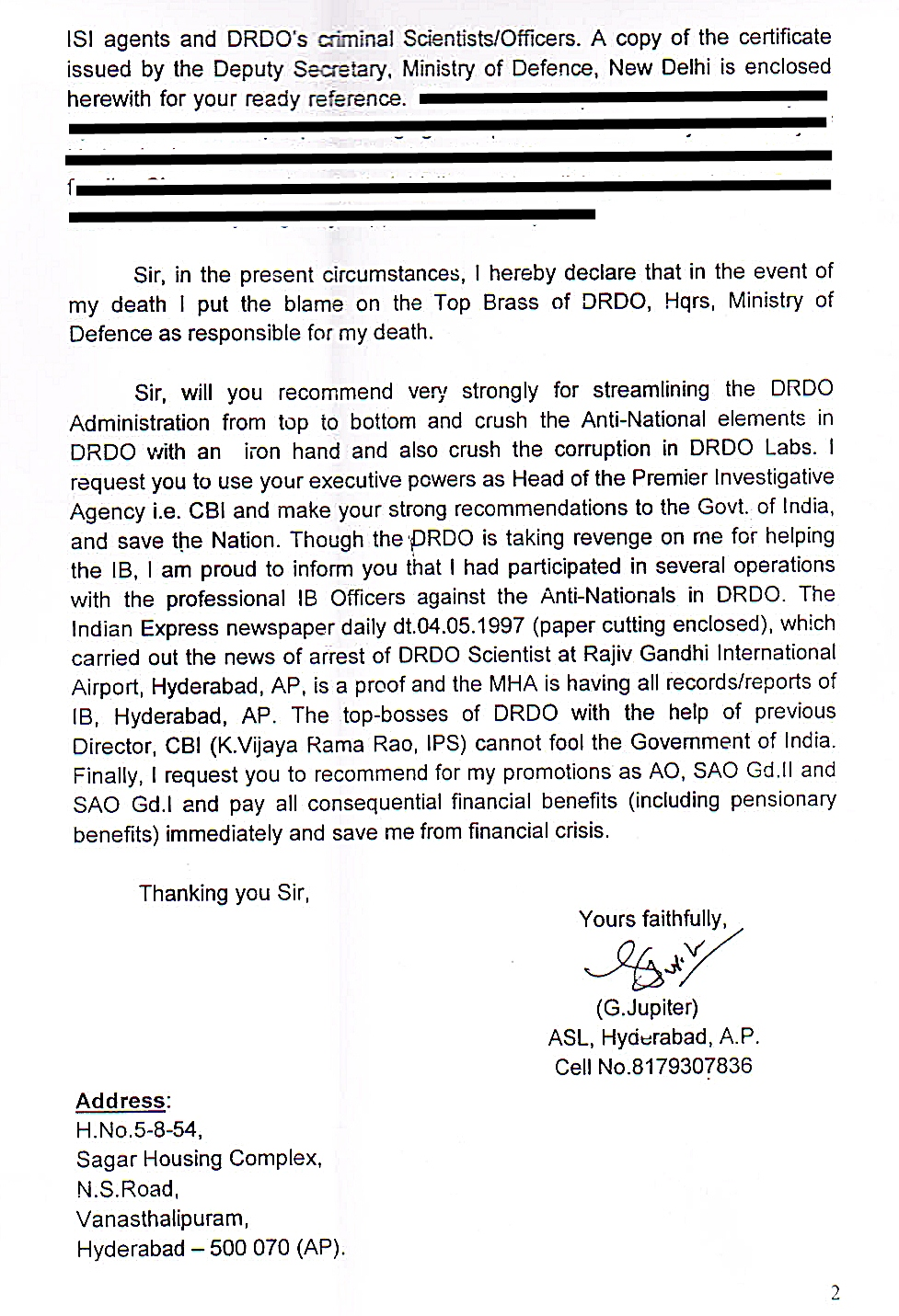 Letter of Sh G Jupiter address to Sh Ranjit Sinha, Director, CBI