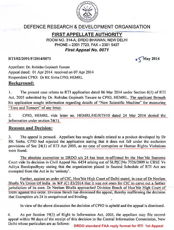 RG Taware RTI  first appeal reply page1