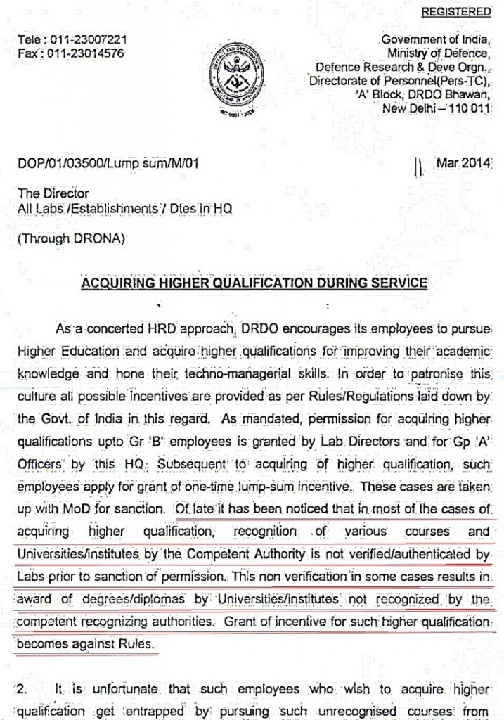 fake degree dop letter