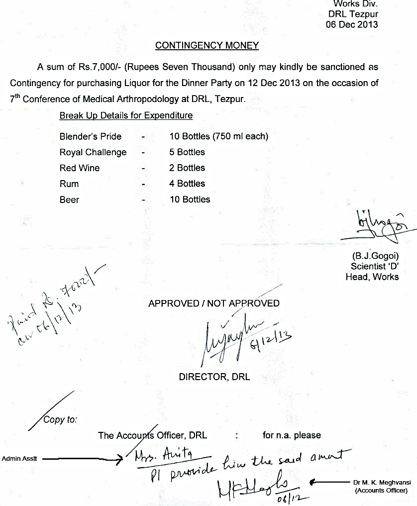 The copy of approval of Dr Vijay Veer, Director, DRL, DRDO, Tezpur for purchase of liquor/wine