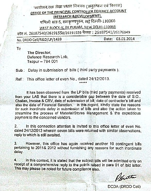 PCDA (R&D), Letter to Director. DRL. Tezpur