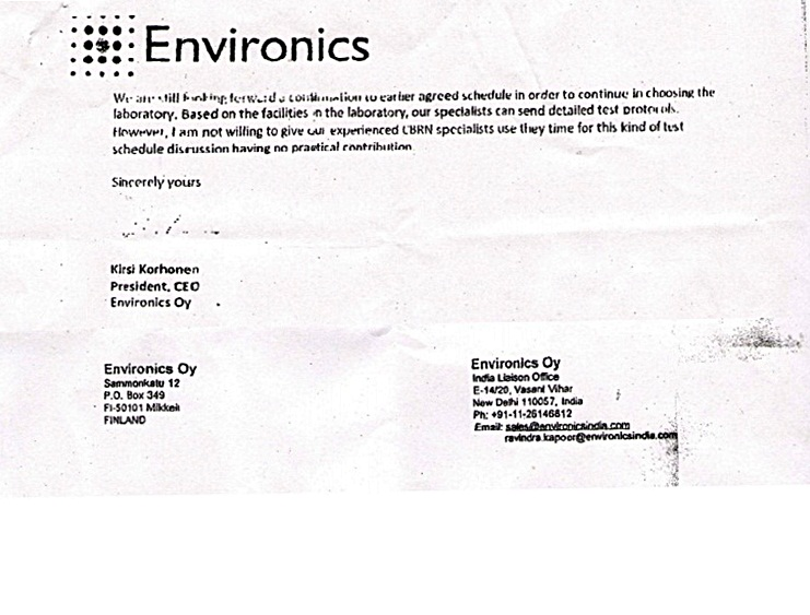 Environics's reply regarding non function of Chempro 100i